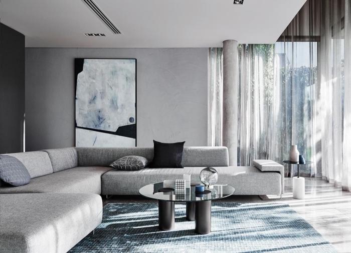 décoration moderne avec nuances de gris dans un salon au plafond blanc, idée peinture argentée ou enduit béton