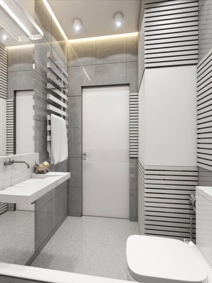 quelle couleur pour un petit espace, décorer une petite salle de bain moderne, idée carrelage salle de bain gris clair