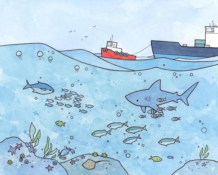 La mer et ses créatures, dessin en perspective, dessiner un paysage artiste, poissons dans l'eau