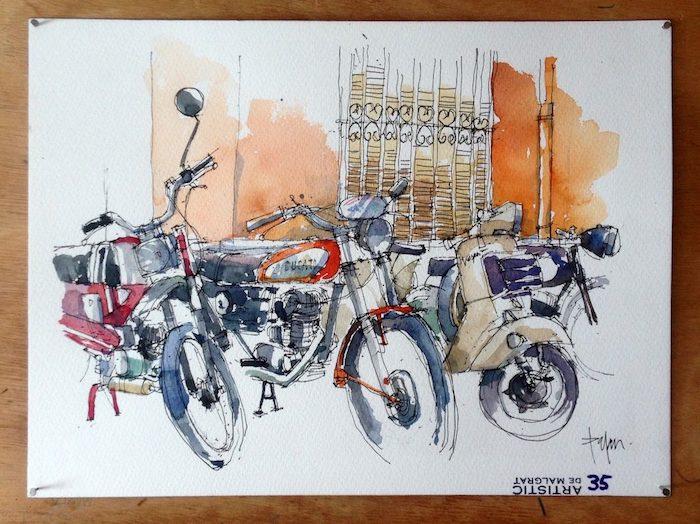 Motocyclettes sur la rue, paysages de neige, dessin facile a faire et beau, aquarelle peinture originale