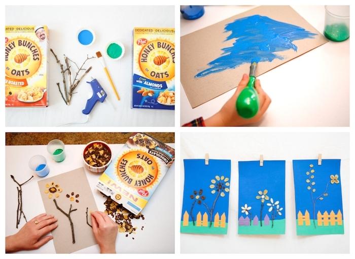 dessin original sur bout de papier cartonné coloré en bleu et vert, fleurs en brindilles d arbre et céréales