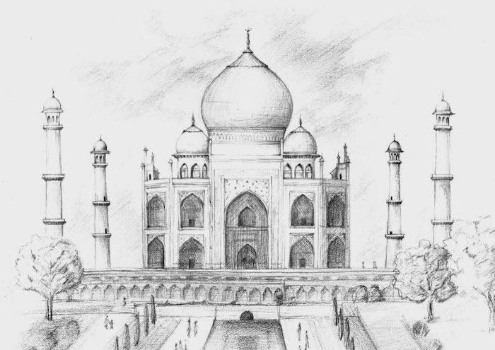 Inde beauté architecture magnifique blanche chateau, beau dessin de paysage, inspiration dessin facile à faire