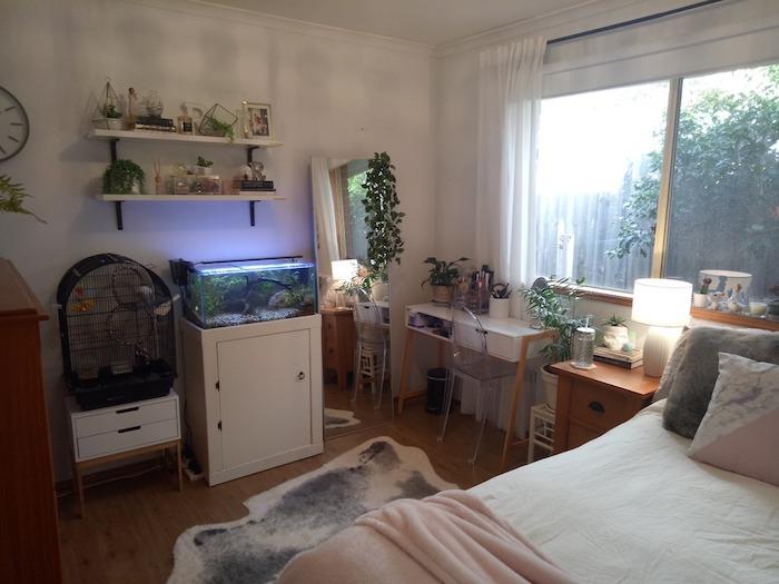 Tumblr chambre à coucher ado, aquarium et cage oiseau, vue foret, idée chambre ado décoration chambre à coucher pinterest