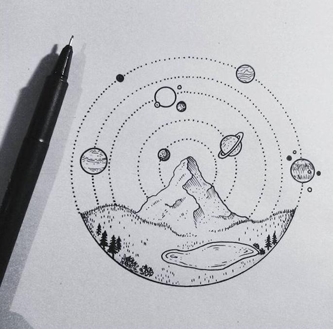 Les planettes dessin paysage original, chouette idée dessin tatouage facile à faire, dessin de paysage beau