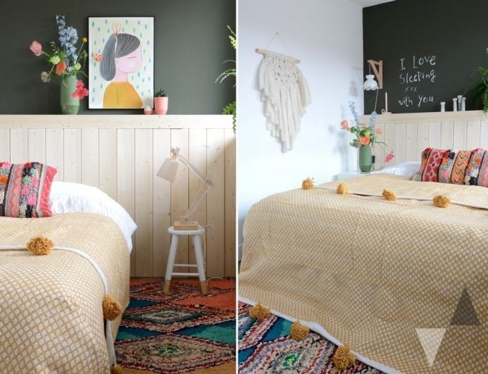 une tête de lit en lambris bois naturel en joli contraste avec le mur vert foncé, idée de couleur mur chambre d'enfant ed style bohème chic