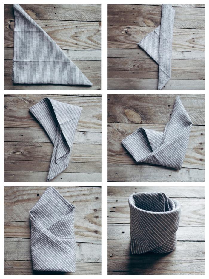 technique de pliage serviette simple et rapide pour faire un panier décoratif, nappe en lin à rayures pliée en panier