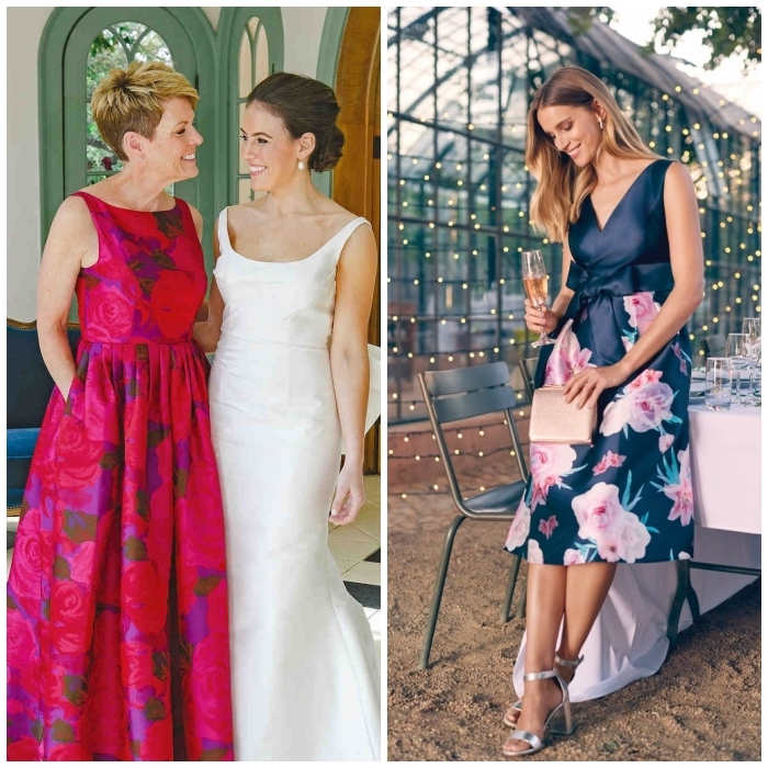robe de cocktail pour mariage chic aux imprimés floraux, modèle de robe longue évasée couleur fuchsia, robe de cocktail à jupe imprimée florale avec une ceinture noeud