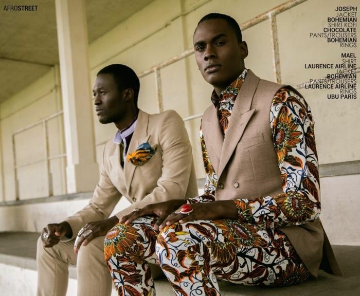 tenue pour homme chic, hommes africains, pantalons et chemises aux imprimés végétaux et costumes beiges classiques