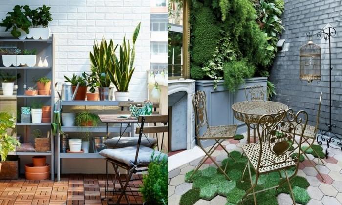 decoration de plantes vertes sur une terrasse, aménagement petit balcon avec des étagères pour fleurs, chaises et table metalliques, mur vegetal