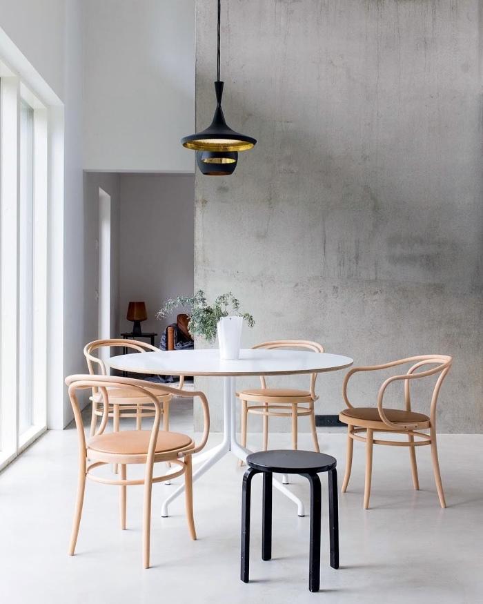 comment décorer une salle à manger moderne de style scandinave, exemple peinture imitation béton ciré pour déco minimaliste