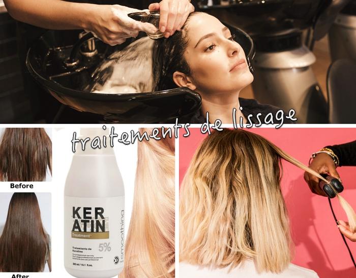 comment avoir les cheveux lisse, technique de lissage de cheveux avec solution en kératine, effet traitement brésilien