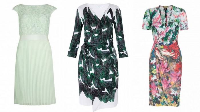 trois modèles de robes d'invitée courtes à coupe droite ou portefeuille, une robe champetre fraîche et colorée pour l'invitée de mariage