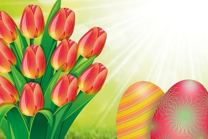 Tulips dessin, oeufs de paques dessin coloré, photo de paques, carte joyeuses pâques, image la beauté de printemps