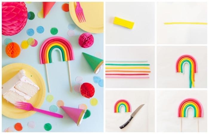 idée de decoration patisserie non comestible à réaliser soi-même, un cake-topper arc-en-ciel en argile pour décorer un gâteau d'anniversaire enfant