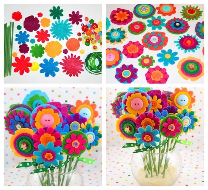 vase de fleurs en feutrine colorés dans un vase en verre avec pate au fond pour accrocher les fleurs montées sur pailles, activités manuelles maternelle