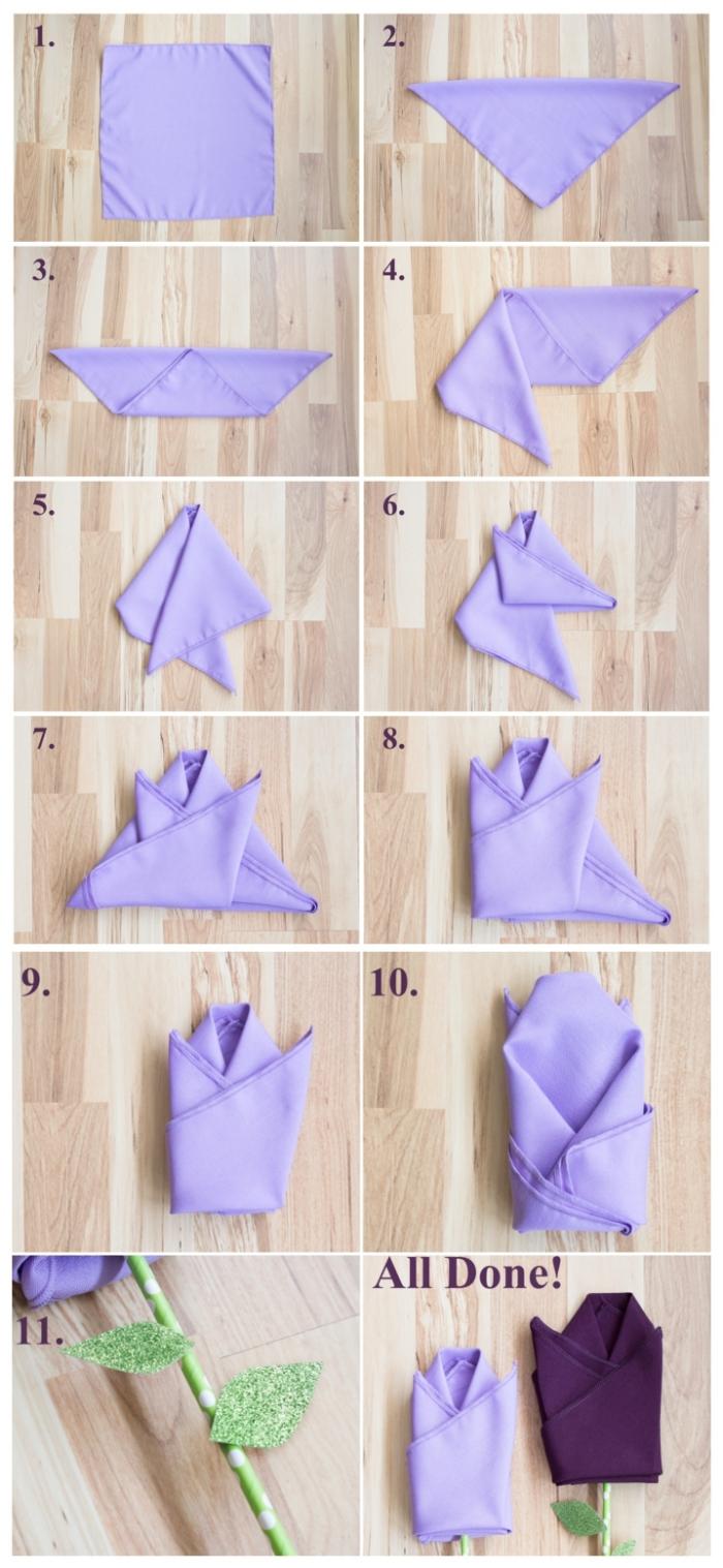les étapes du pliage serviette facile pour réaliser une jolie tulipe en tissu et paille