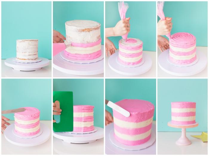 idée de décoration gâteau d'anniversaire réalisé avec du glaçage bicolore, décorer un gâteau avec une poche à douille et une spatule