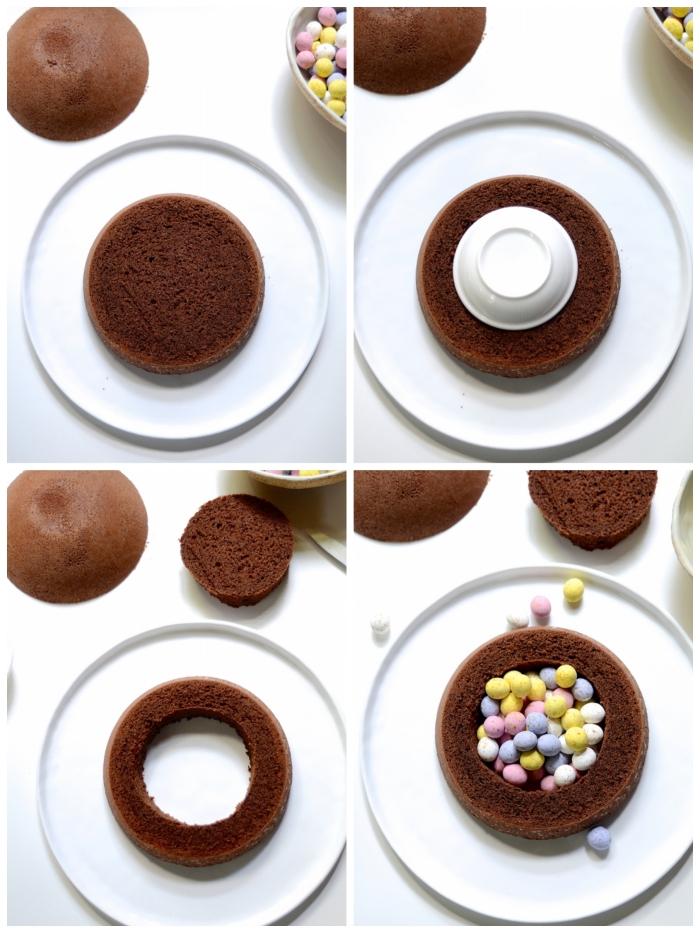 comment réaliser un gâteau pinata au chocolat avec des petits oeufs en chocolat de pâques dans son centre, gateau de paques au chocolat facile en forme de dôme