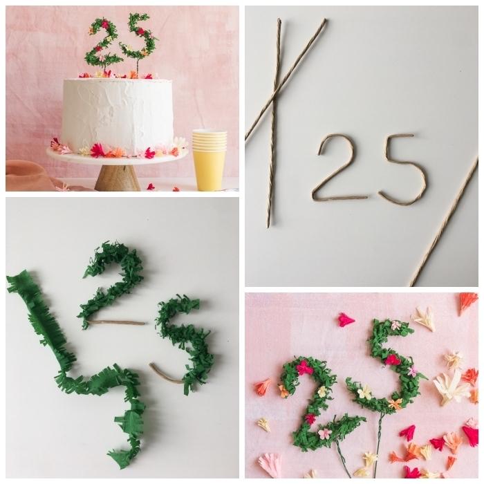 gateau d'anniversaire facile au glaçage de crème beurre décoré avec un cake-topper chiffres floral, décoration de gâteau à faire soi-même