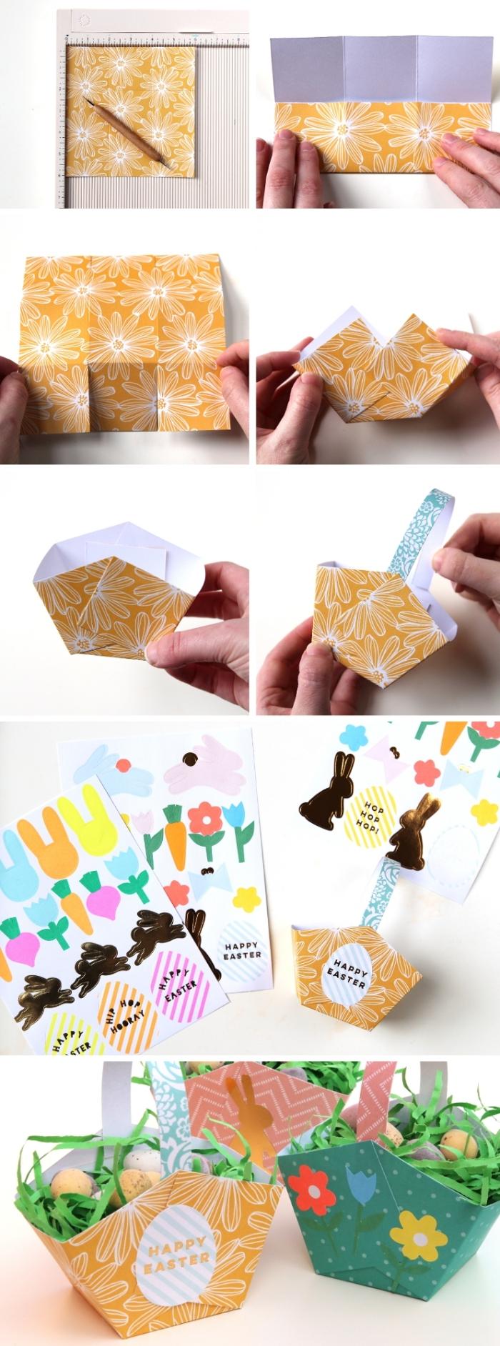 étapes à suivre pour réaliser un panier en papier cartonné facile, pliage de papier facile pour faire un panier oeufs