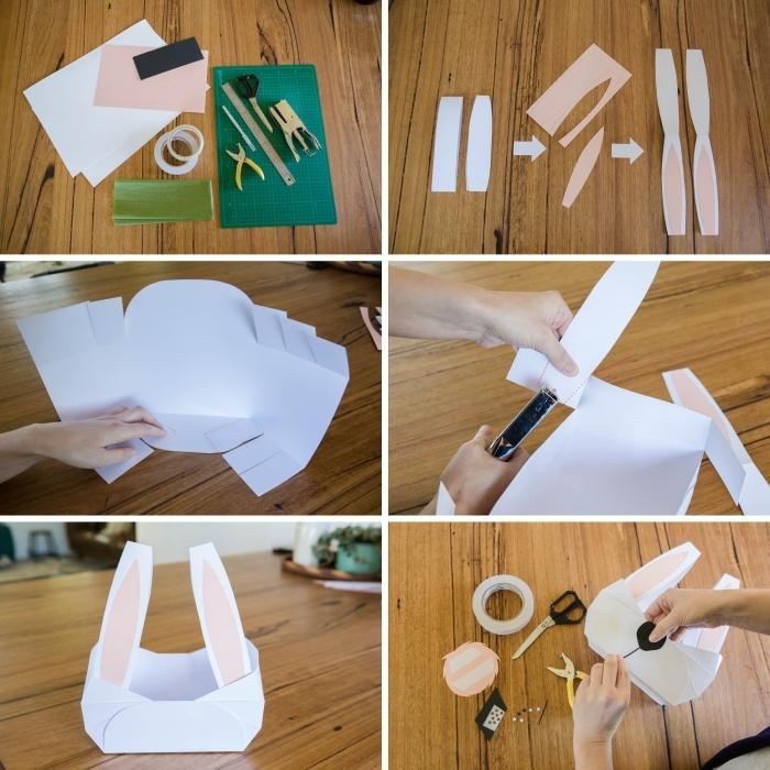 étapes à suivre pour réaliser un panier lapin en papier cartonné, technique pliage de papier facile, faire un visage lapin en papier