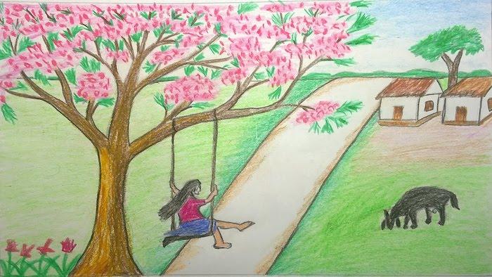 Fille sur balançoire dans son cours, regarder la beauté du printemps et sa maison champetre chemin dessin