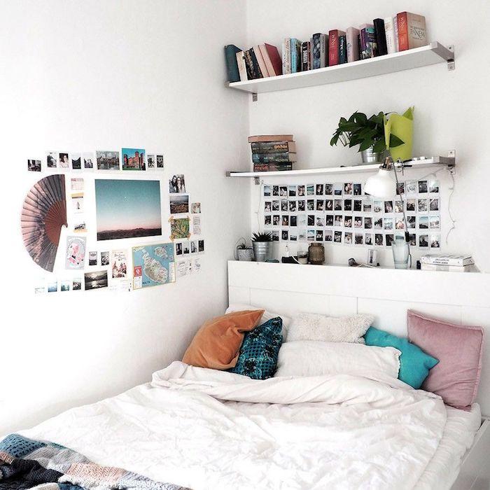 Le linge de lit blanc, décoration murale avec photos, décoration chambre à coucher, les couleurs à choisir pour un effet tumblr deco
