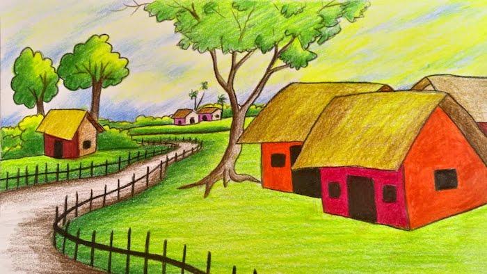 Maisons rouges et champs vert, champetre vie dessin, idée de dessin facile à faire, cool image pour s'inspirer que dessiner