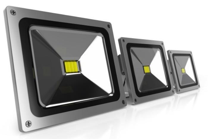trois projecteurs led à plat fris pour l'éclairage de vos espaces extérieurs comme jardin, piscine, façade ou allée de maison