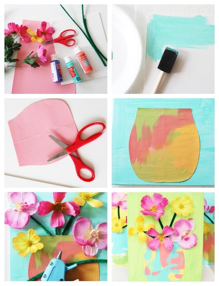 vase de fleurs en papier coloré sur un panneau decoratif avec des fleurs artificielles montées sur tiges en cure pipe
