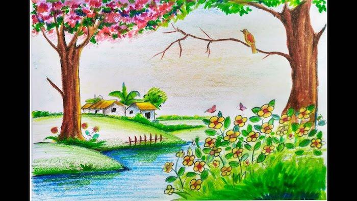 Idée comment faire un dessin mer, beauté nature dessin facile à faire, arbres fleuries