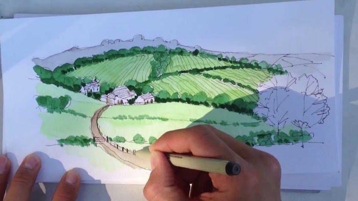 Aquarelle deco de dessin champetre, idée dessin en perspective, dessin de paysage magnifique