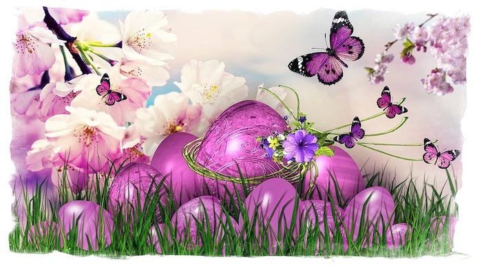 Violet carte joyeuses paques, bon week end de paques, se mettre en bonne humeur, joyeuses paques images