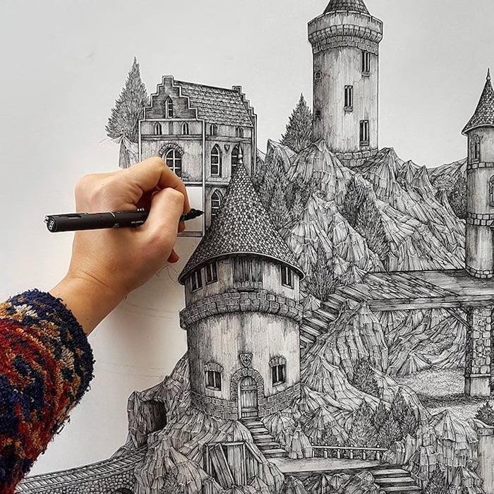 Chateau dessin détaillée, dessin d'imagination art crayon et feutre noir, papier et crayon dessin facile a faire et beau, dessin de paysage