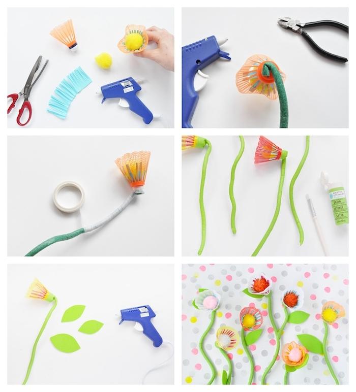 comment faire des fleurs en volant de badminton avec un centre en pompon coloré et tige artificielle, bouquet de fleurs diy