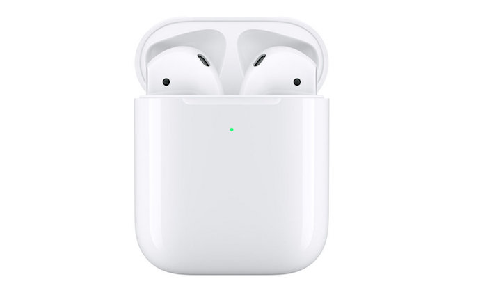 image des nouveaux écouteurs AirPods 2 présentés par Apple et vendus avec un boitier de charge sans fil
