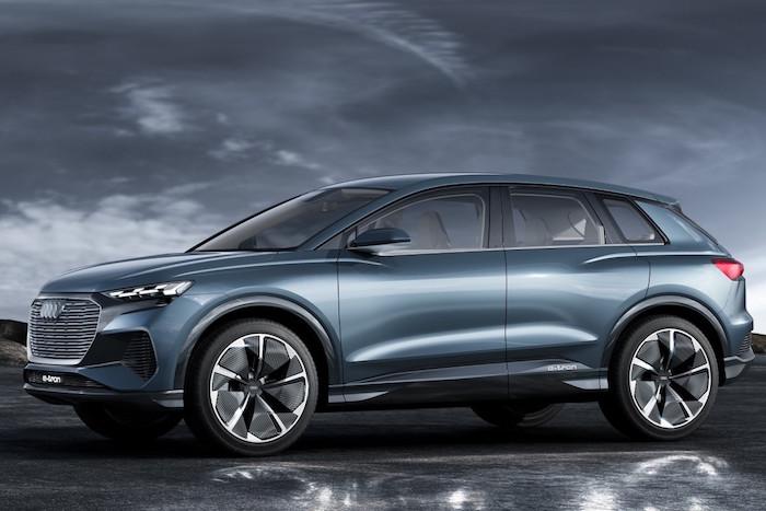 image illustration du nouveau SUV 100% électrique Audi Q4 E-Tron présenté au salon de l'Auto de Genève et commercialisé en 2020 2021