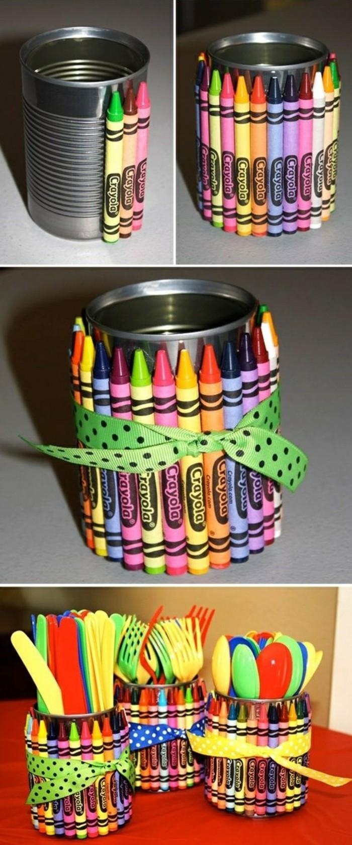 loisir créatif avec matériaux simples, que faire avec une canette, réaliser un accessoire pour bureau en boîte conserve