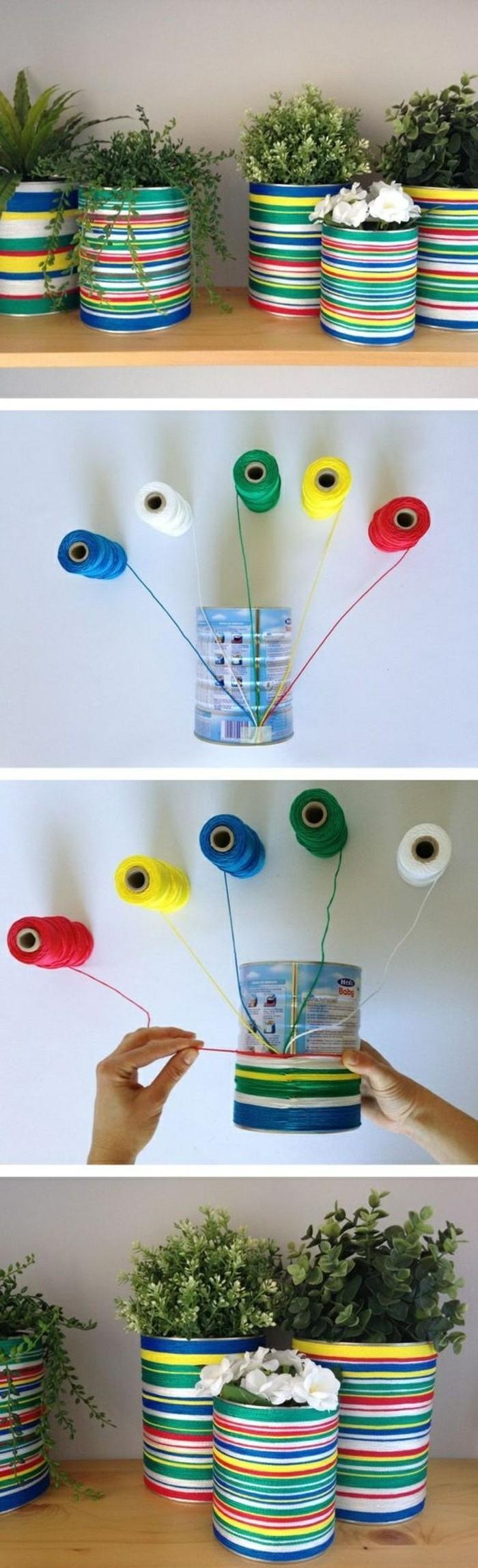 idée recyclage de boîte de conserve, fabriquer un pot à fleur en canette, décorer une boîte conserve avec fils de laine