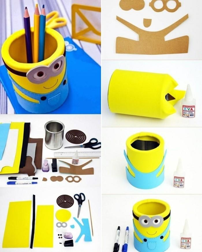 accessoire pour bureau enfant à design les minions, faire un porte-crayon avec canette et papier coloré, objet diy sur le thème les minions