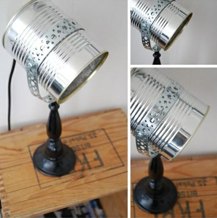 modèle de lampe sur pied à faire soi-même, comment recycler une boîte de conserve, diy lampe en canette conserve