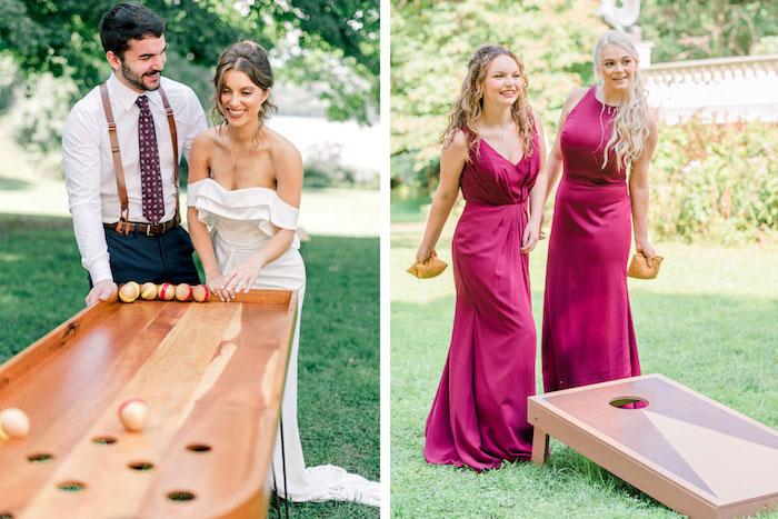 Les invités à un mariage champetre s'amusent bien, jeu de groupe drole, jeux mariage, chouette reception de mariage