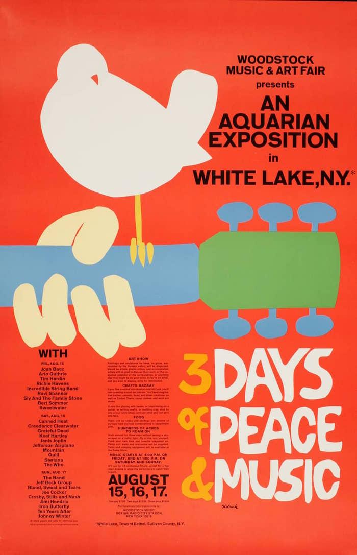 Affiche de l'édition originale du festival de Woodstock de 1969 pour l'anniversaire de ses 50 ans en 2019