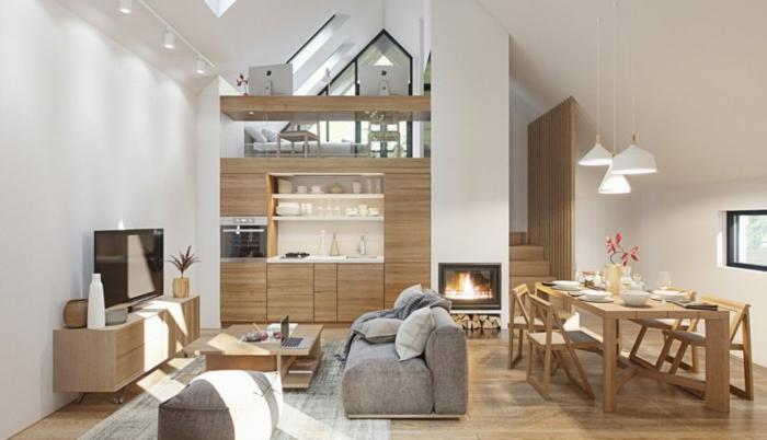 cuisine en bois et blanc avec salle à manger et salon, table de repas en bois clair, meuble kitchenette en bois