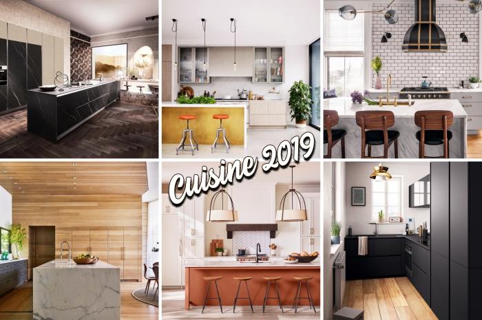 comment décorer une cuisine blanche et bois moderne, exemple éclairage cuisine avec luminaires suspendues métal