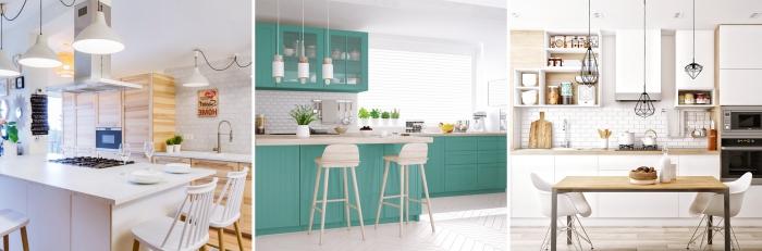 idée quelle couleur pour une cuisine, aménagement cuisine avec îlot, modèle de crédence cuisine en carreaux briques blanches