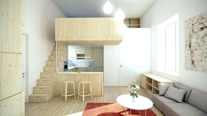 idée aménagement cuisine, cuisine en U, studio etudiant moderne en bois et blanc, sofa gris, table blanche