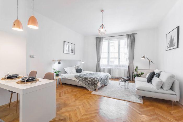 decoration scandinave dans un studio spacieux aux murs repeints en blanc, mobilier gris et blanc, salle à manger ouverte, parquet clair