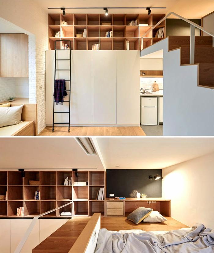 aménagement cuisine petite surface, escalier loft, studio bois et blanc, étagère biliothèque, lit au sol