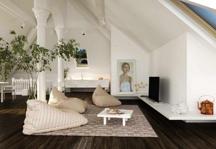 des meubles bas minimalistes pour aménager un espace en sous-pente, loft mansardé spacieux avec un meuble tv d'angle